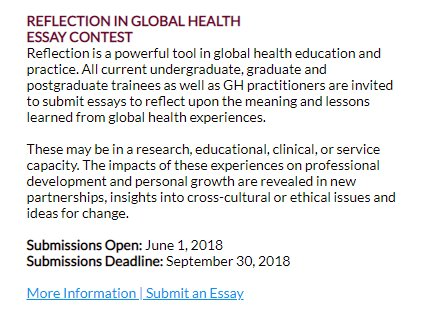 Cugh On Twitter Attention Globalhealth Students  Practitioners  Attention Globalhealth Students  Practitioners Youre Invited To Submit  An Essay About Your Reflections In Global Health Education And Practice