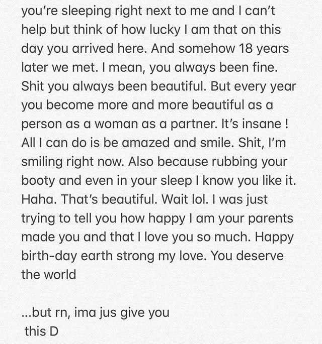 5am text draft. EVERYONE wish mybaby @nazaninmandi a happy earth strong!