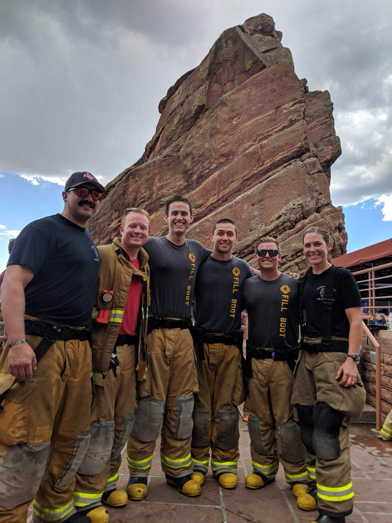 #CSFD firefighters attend and perform in #911Anniversary stair-climbs around the state today to honor our fallen. Here are some photos from #RedRocks where CSFD joined many firefighters and civilians from all over #Colorado to pay their respects #NeverForget #11Sep <br>http://pic.twitter.com/wjObg0keOv