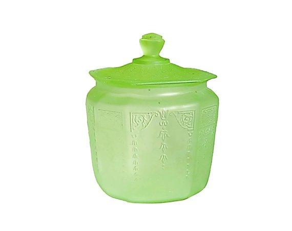 Green Depression Gl Cookie Jar Anchor Hocking In The Cameo Uranium Black Light Glow Lime Mom Uraniumgl