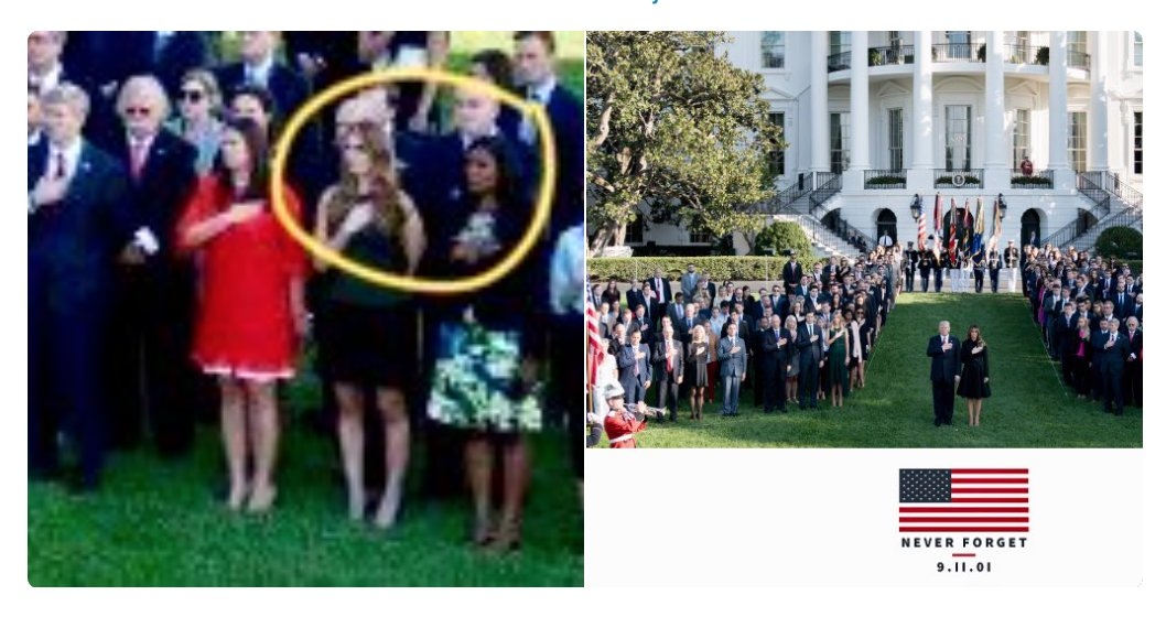 .@realDonaldTrump is an Orwellian manufacturer of 'Fake News.' On - of all days - Sept. 11, he posted this photo showing his staff honoring the tragic anniversary. But: 1) It was raining today and 2) it includes the long-departed Hope Hicks and Omarosa   (h/t @aravosis)