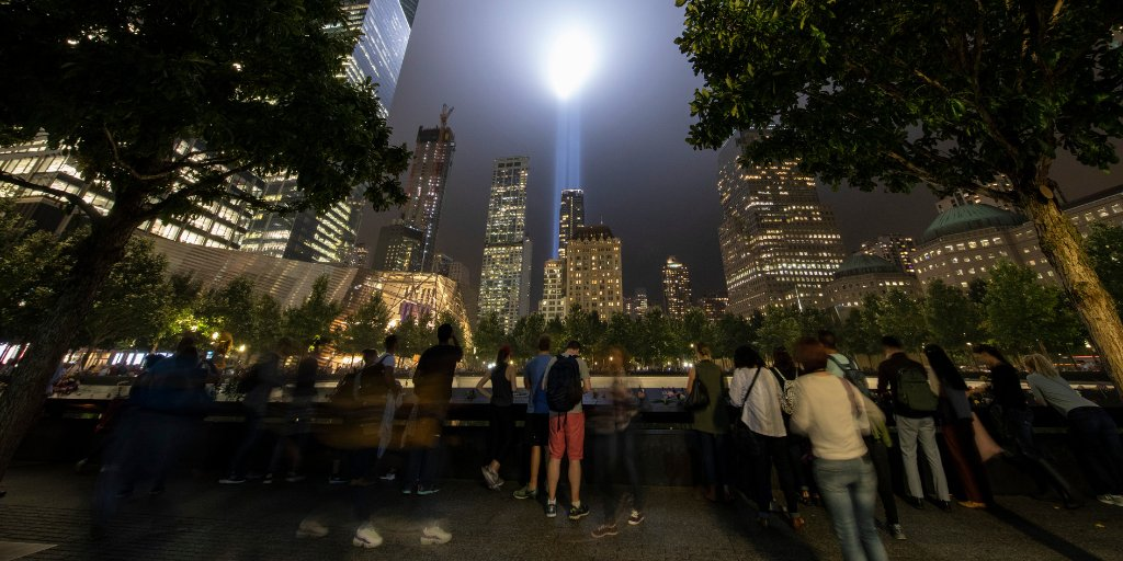Seen from all five boroughs and beyond, #TributeInLight illuminates the #NYC skyline this evening. Share your photos with  and . #Honor911#911Memorial
