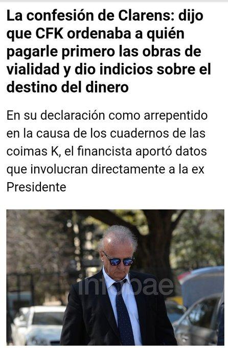 El que les manejaba la plata robada se arrepintió, esta contando todo, hay mas coimeros y coimeados contando todo, ah pero ella no conoce a nadie y es perseguida política eh! #CFKChorra #MartesIntratable Foto