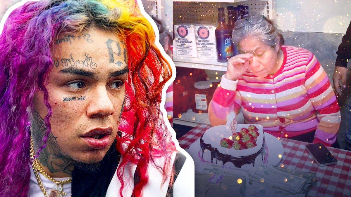 Con un pastel rodeado de miles de dólares, el rapero tekashi