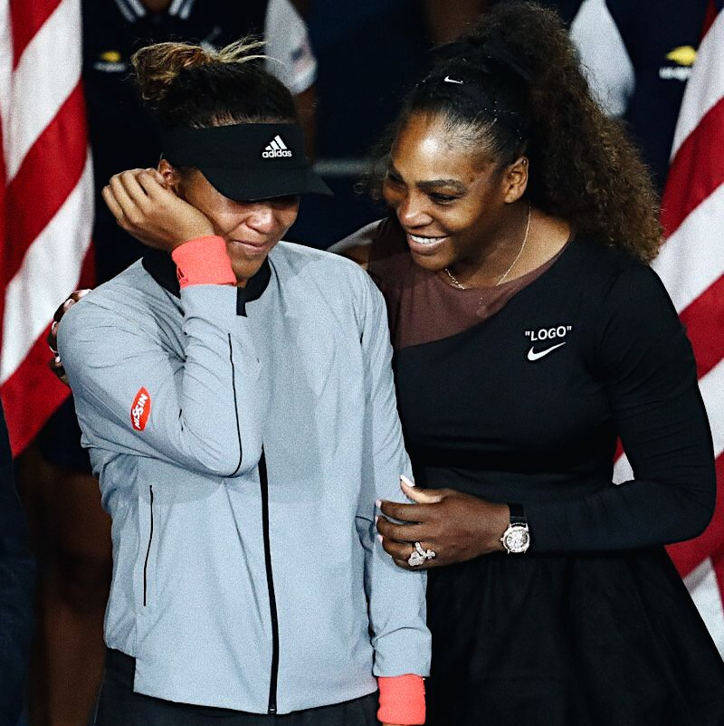 We're sending #GirlLove to both of these incredibly hard working women today. 💛 @serenawilliams @Naomi_Osaka_ #StrongerTogether