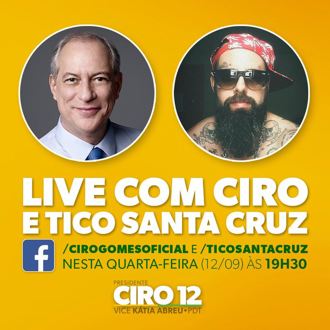 Ciro e @Ticostacruz batem um papo, ao vivo, nesta quarta-feira às 19h30. Você vai poder assistir ao encontro na nossa página e na página do Tico Fique ligado, compartilhe e participe enviando sua mensagem. #Ciro12 #CiroPresidente Photo