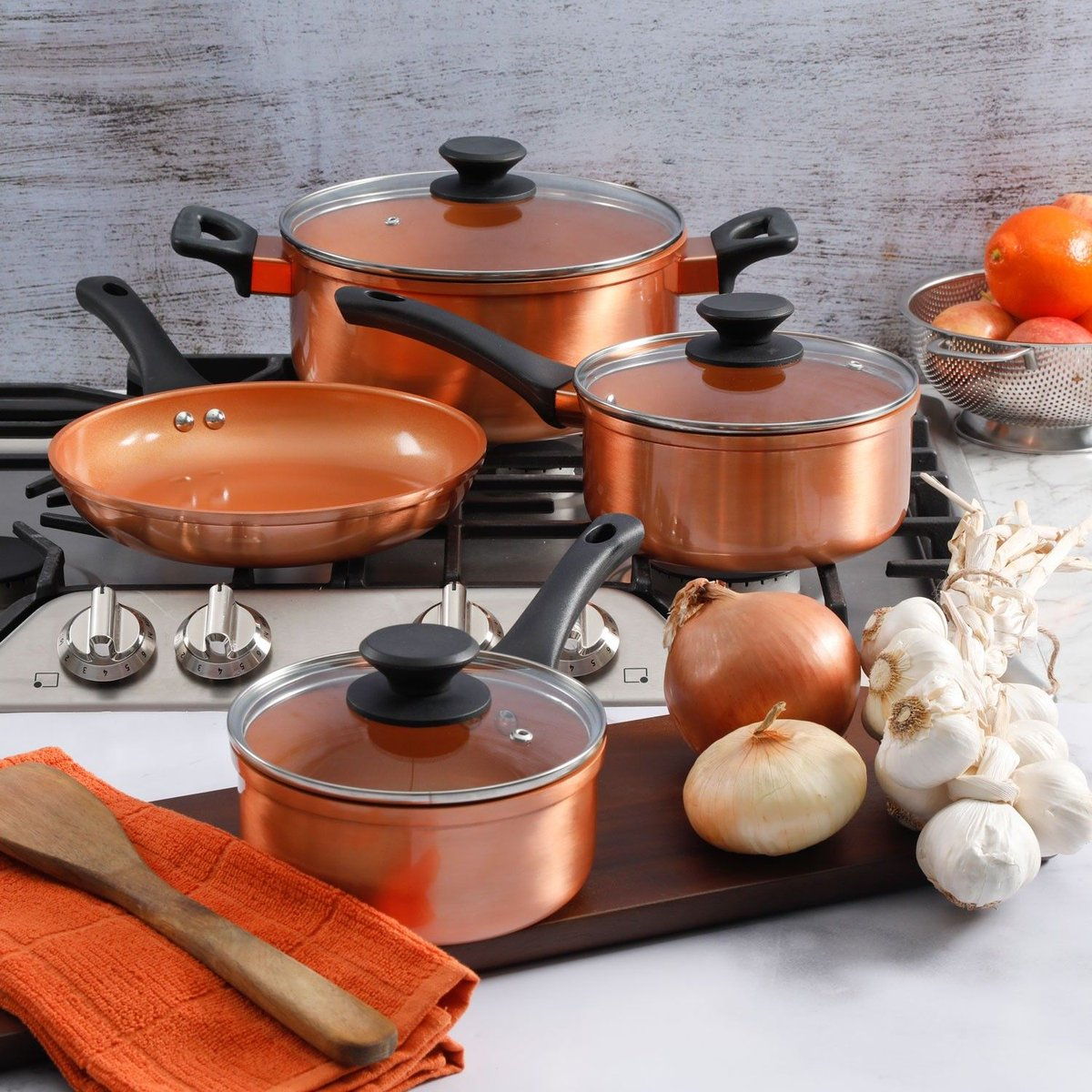Peralatan Dapur Panci Set Vicenza V812 Cookware Daftar Harga 12pcs Gibson Outlet Get Cooking With The Sunbeam Larson 7 Piece Copper Available Now
