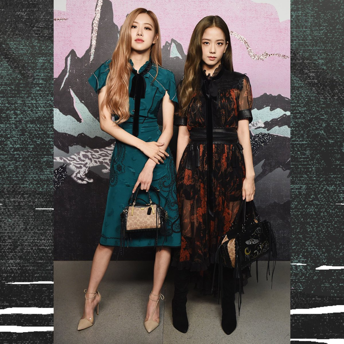 #BLACKPINK's Rosé and Jisoo, both carrying the Dreamer bag, pictured earlier today at the #CoachSS19 show. #CoachNY