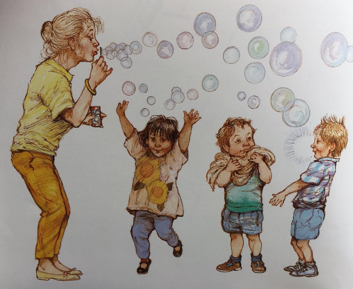 Lots of bubbles into the air they floated all over the garden and the children jumped about trying to pop them from alfie gives a handpic twitter com