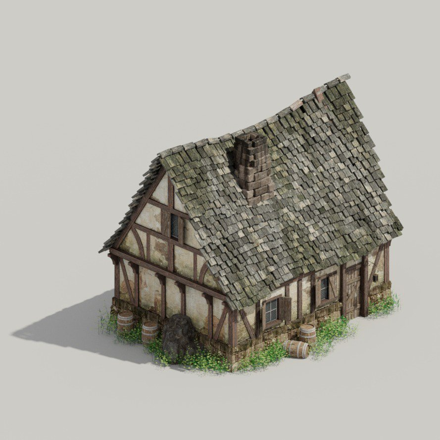 Ready with another medieval house, do you like it? Including a view from #blender3d before the rendering  #gamedev #indiedev #DnD<br>http://pic.twitter.com/3JWLlQjOSo