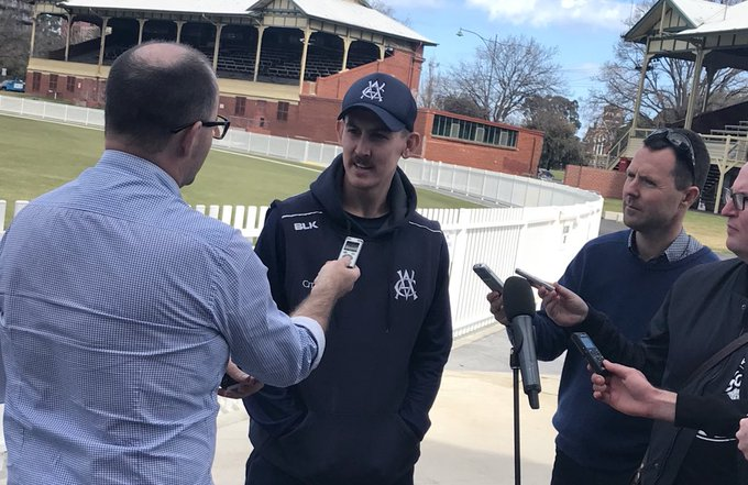 Great to have @maddo53 in navy blue! Media previews ahead of this weekend's #JLTCup opener. Photo