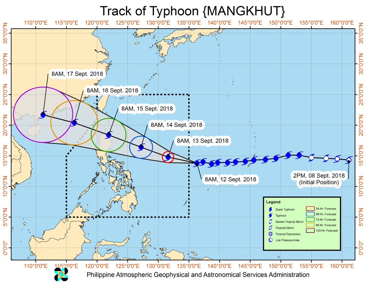 Typhoon 'Mangkhut' has further intensified and it will enter the Philippine Area of Responsibility (PAR) this afternoon.  https://t.co/7tueh0Raw5