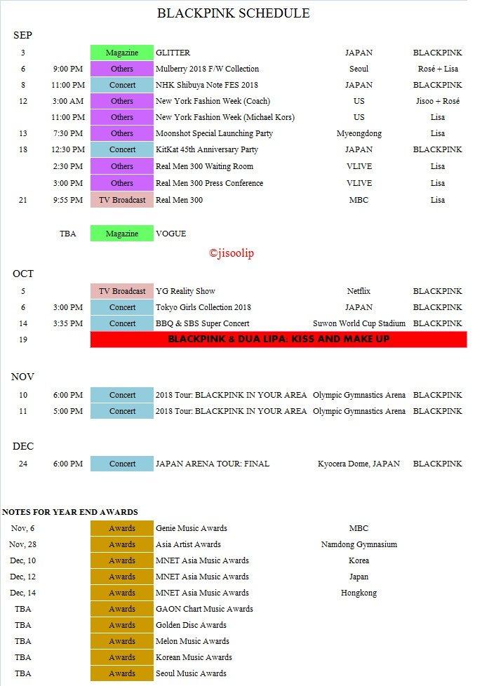 Blackpink's schedule for the rest of 2018 | allkpop Forums