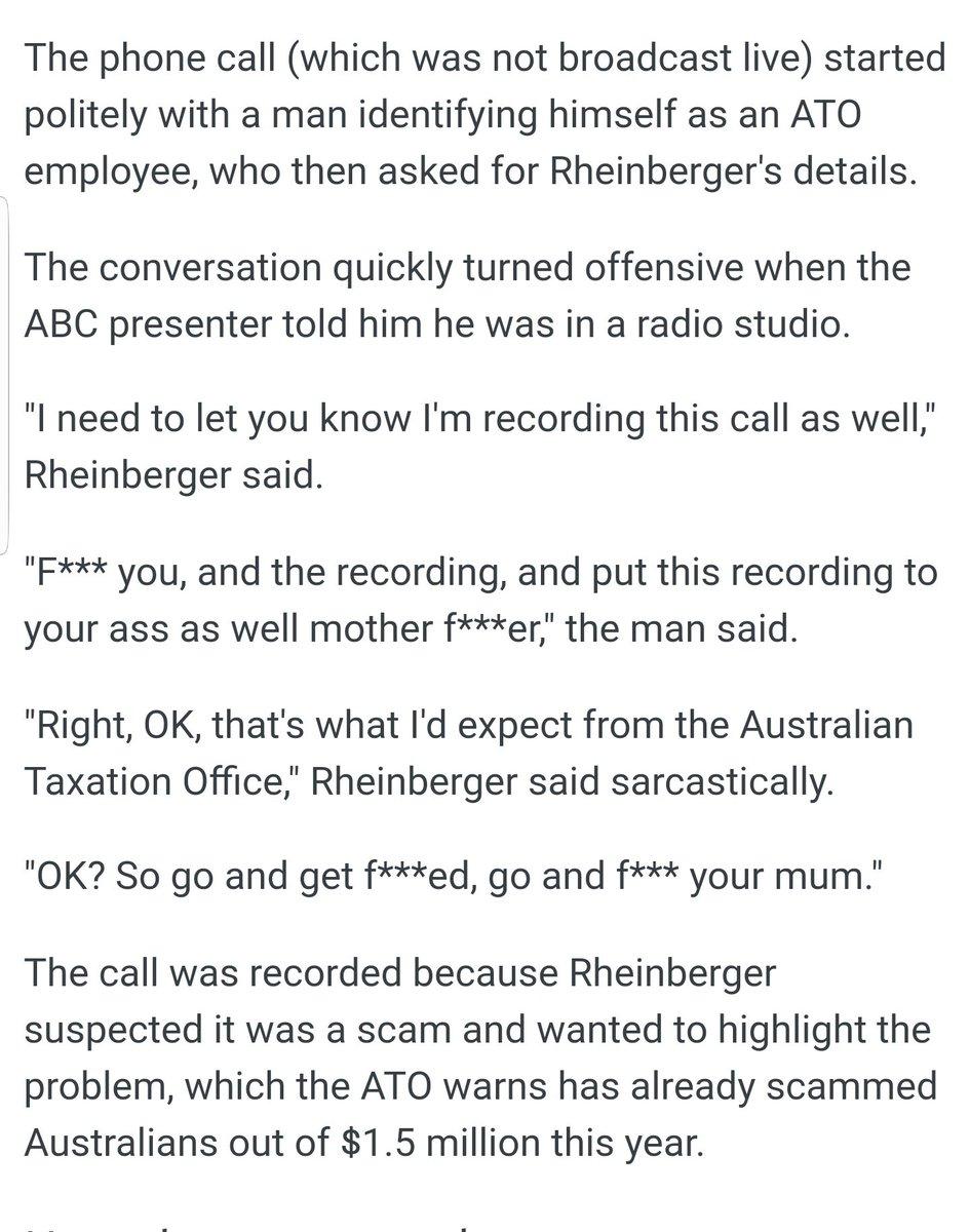 ... TO YOUR ASS'  http://mobile.abc.net.au/news/2017-09-12/ato-scam-backfires-when-abc-presenter-targeted/8895030?pfmredir=sm  …pic.twitter.com/aa0JMupNtp