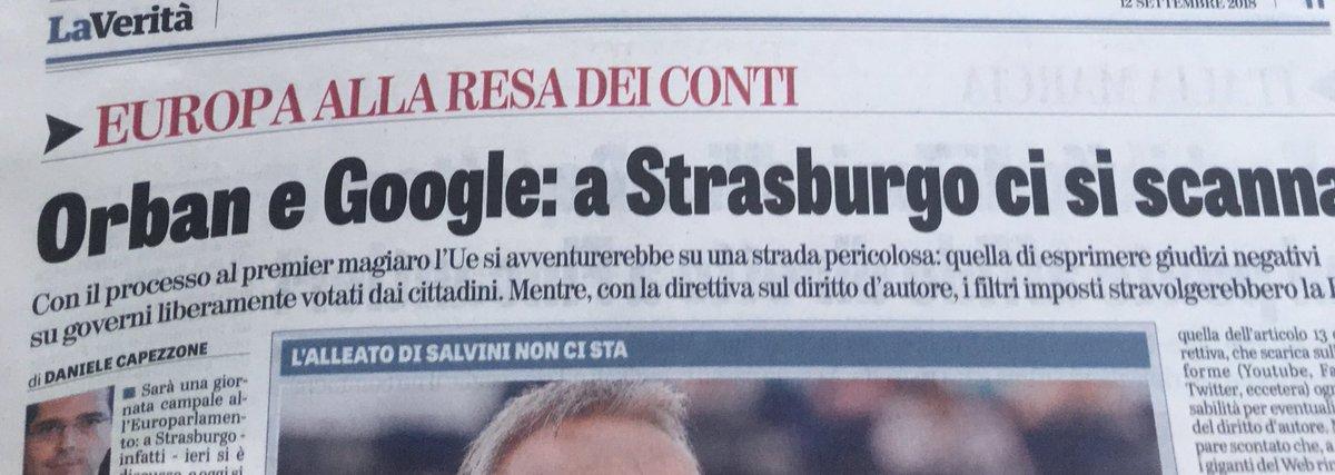 Su @LaVeritaWeb Paginone su giornata campale a Strasburgo-Voto sul filo su #Orban (discorso da leone), #Ppe a pezzi, #Weber ambiguo, #M5S non capisce che Roma è la prossima nel mirino dopo Budapest -Voto incerto su #copyright, direttiva innescherebbe censura (pure contro meme)  - Ukustom