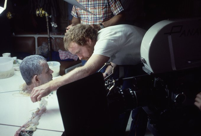 Happy 87th birthday to Ian Holm, seen here with Ridley Scott on the set of \Alien\ (1979).