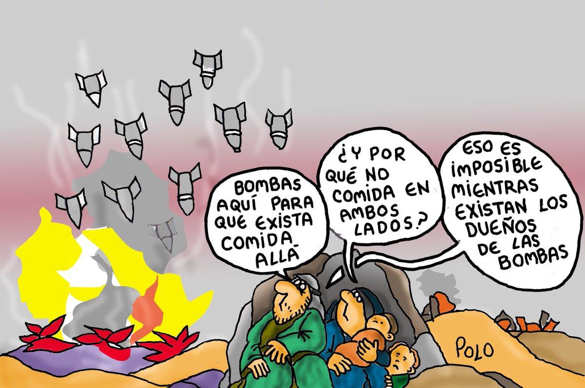 """La viñeta de hoy...""""Las bombas y la comida"""" @Famelica_legion @Zaparrastroso1 @politicahoyayer @pelaya01"""