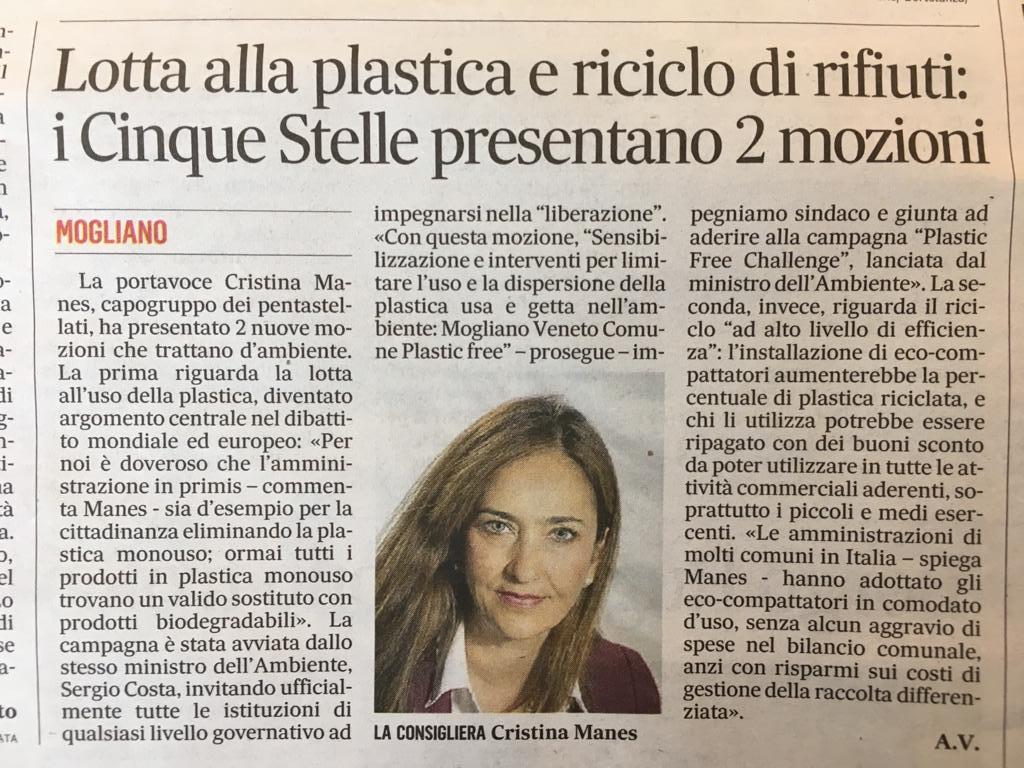 Il Gazzettino di Treviso 11/09/18 #PlasticFreeChallenge #Ambiente #IOSONOPLASTICFREE #MovimentoCinqueStelle #MoglianoVeneto  - Ukustom