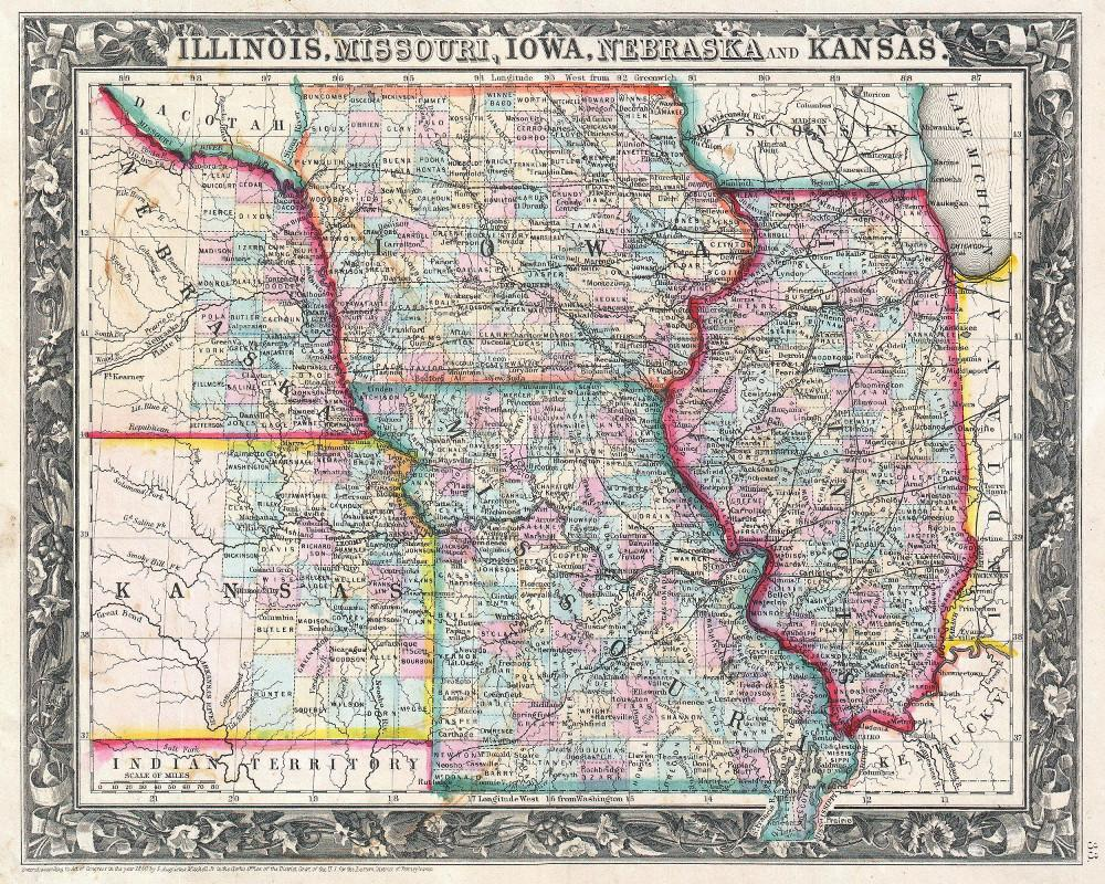 James Lucas On Twitter Iowa And Missouri Map Print Vintage Poster - Vintage iowa map