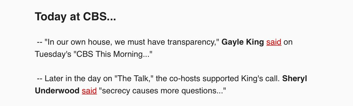 Until CBS and every other network lift their NDA's (past and present), there is no transparency;you can't have NDA's that muzzle employees and pretend you have transparency (below from ⁦@brianstelter⁩ )