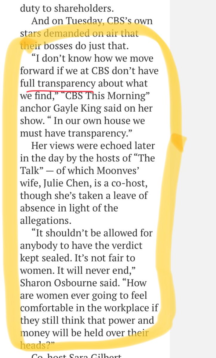 Note to ⁦@GayleKing⁩ ⁦@MrsSOsbourne⁩ , please join me in calling for ALL networks to release its employees from NDA's (muzzle agreements) since there is no transparency until that happens; below from ⁦@nypost⁩