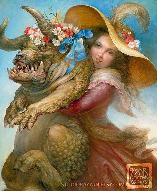 """Summer Beauty"" prints now available. See my profile for the link.  #beautyandthebeast #beauty #monster #cuddles #hug #mysqueeze #flowers #summer #favorite #buddy #pets #uglydog #beast #newcontemporary #fantasyart #magicrealism #oilpainting #artist #omar… https://ift.tt/2NAR05i"