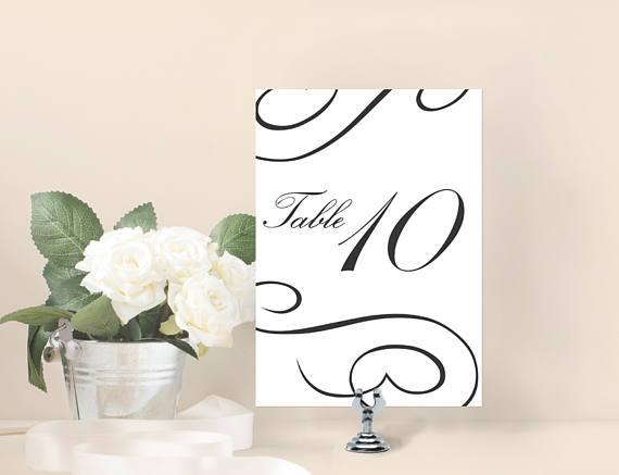 Thedesignsenchanted On Twitter Diy Wedding Table Numbers Card Script Weddings Etsy Bridal Etsymntt Eventplanning Swirl Sign Link