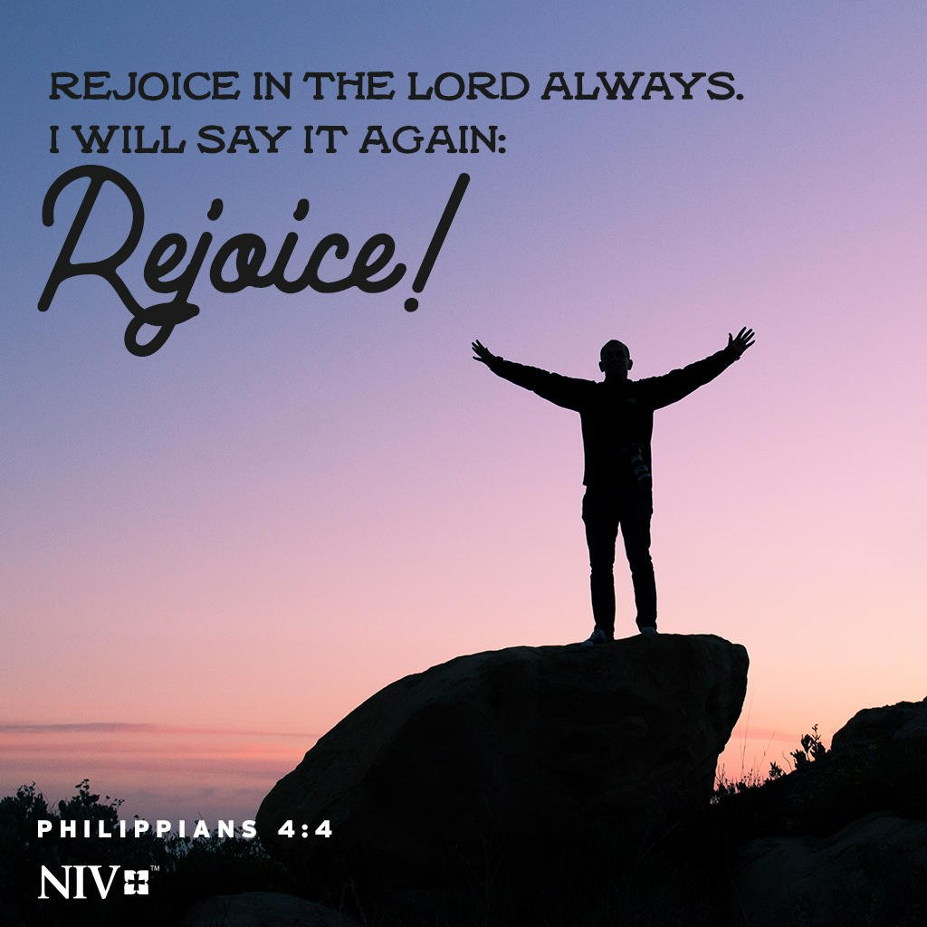 the bible on twitter today s verse of the day rejoice in the lord