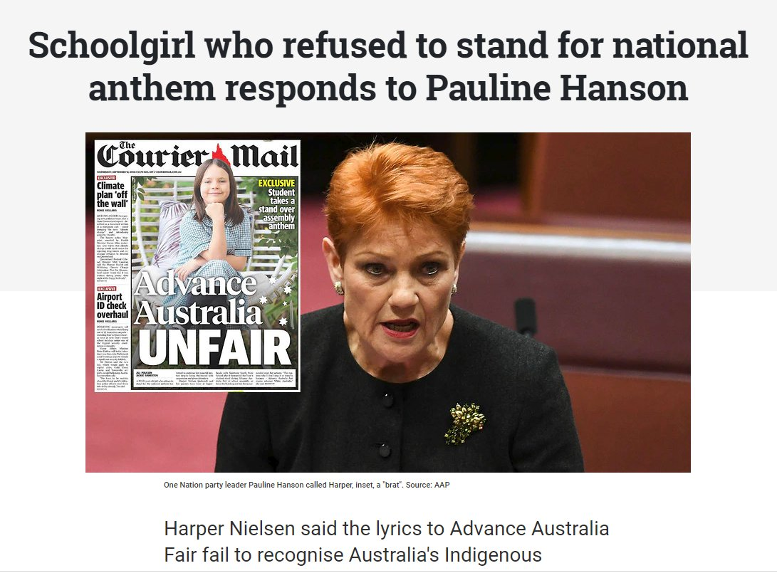 If you dont respect traditions like the national anthem australia could end up being the sort of place were a 9 year old schoolgirl is publicly hounded