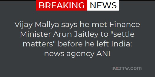 Vijay Mallya says he met Finance Minister Arun Jaitley to 'settle matters' before he left India: news agency ANI