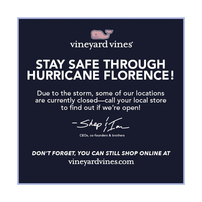 b8add2d6ca ... sure to call your local vineyard vines to make sure they are open. Find  your store here  http   www.vineyardvines.com stores  pic.twitter.com v1RImMndDW