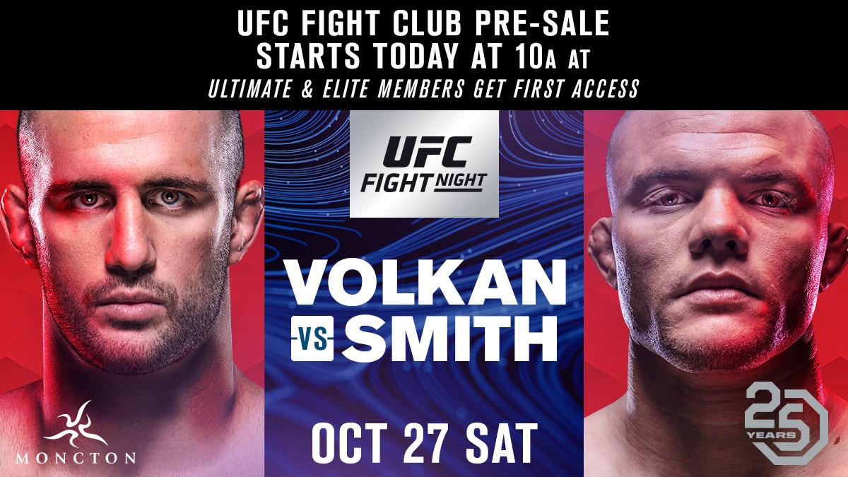 Get your seats for #UFCMoncton before anyone else. The @UFC Fight Club pre-sale is LIVE. 🎟 bit.ly/2Mnzn4m