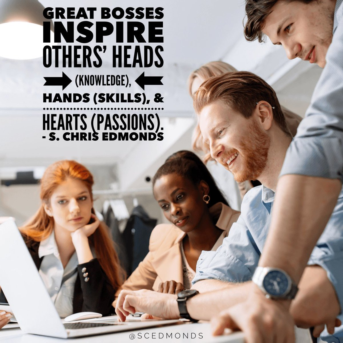 #GreatBosses inspire others' heads (knowledge), hands (skills), & hearts (passions). #Quote #Culture #Leadership https://t.co/io4Z6CFXNF