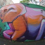 Image for the Tweet beginning: @falko1graffiti with this colourful elephant