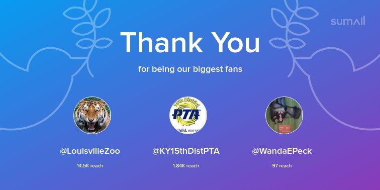 Our biggest fans this week: @LouisvilleZoo, @KY15thDistPTA, @WandaEPeck. Thank you! via sumall.com/thankyou?utm_s…