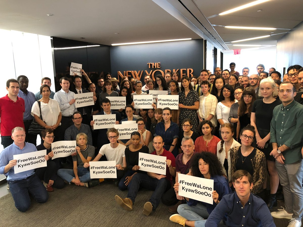 The New Yorker stands with @Reuters and the reporters Wa Lone and Kyaw Soe Oo, who were sentenced to seven years in prison in Myanmar for exposing the execution of Rohingya. Journalism is not a crime. #FreeWaLoneKyawSoeOo #PressFreedom