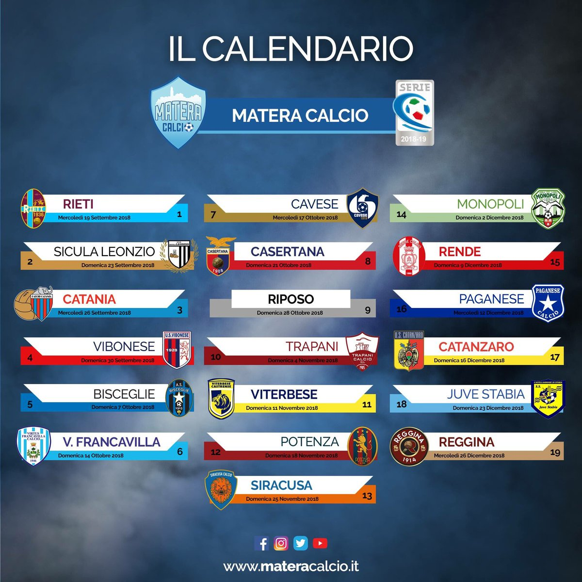 Matera Calcio Calendario.Matera Calcio Official On Twitter Calendario Ufficiale