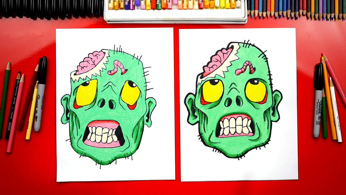Art For Kids Hub On Twitter Draw A Scary Zombie Head For