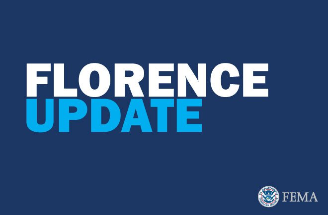 A graphic with a dark blue background that says the words FLORENCE UPDATE on top. The FEMA seal is on the bottom right.