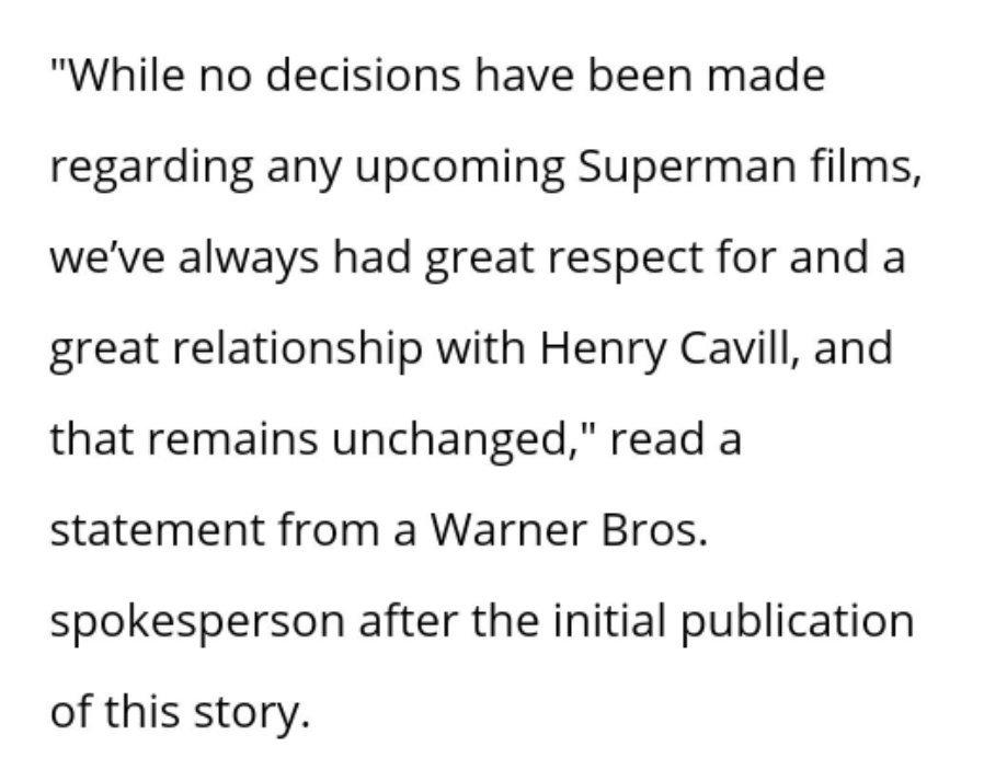 Warner sobre saída de Henry Cavill
