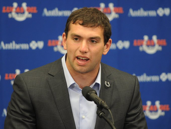 Remember this rookie? Happy 29th birthday to quarterback Andrew Luck.