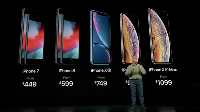 Apple's new iPhone lineup pricing:  iPhone 7 from  $449 iPhone 8 from  $599 iPhone XR from  $749 iPhone Xs from  $999 iPhone Xs Max from  $1099 https://t.co/sWIyWjBWh1  #AppleEvent