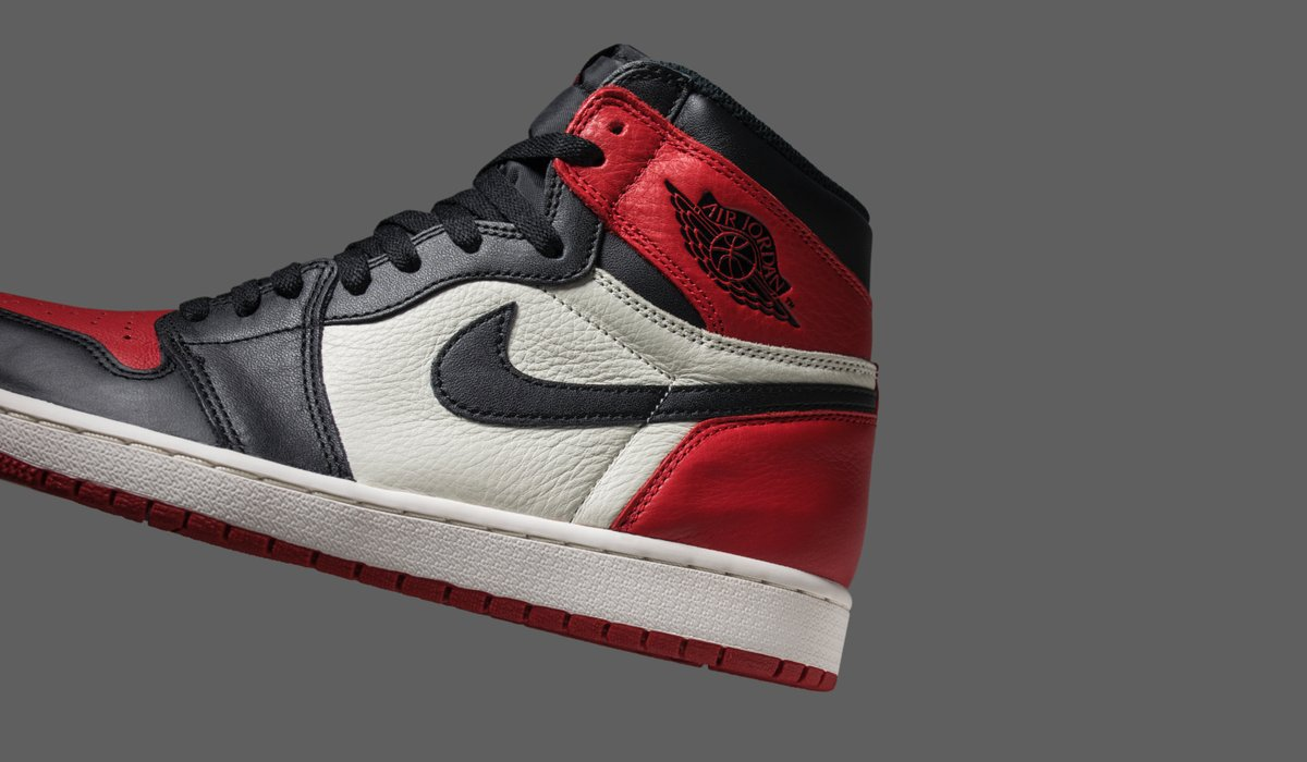 Bred Toe' features tumbled detailing