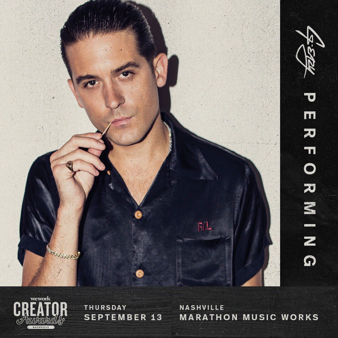 It's happening. See you in Nashville at the @wework Creator Awards tomorrow. #creatorawards bit.ly/G-EazyWeWork