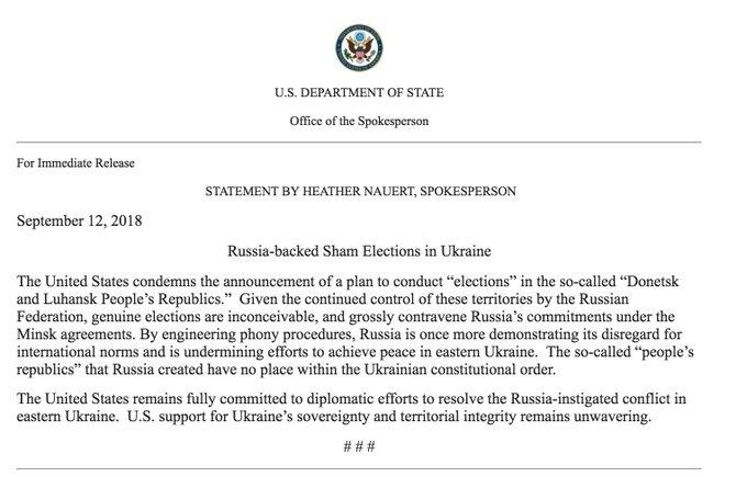 Spokesperson Heather Nauru's September 12, 2018 statement on Russia-Backed Sham Elections in Ukraine.