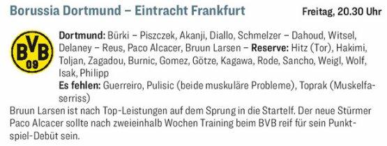 Mögliche #BVB-Aufstellung vom [kicker] im Spiel #BVBSGE : Bürki – Piszczek, Akanji, Diallo, Schmelzer – Dahoud, Witsel, Delaney – Reus, Paco Alcacer, Bruun Larsen Foto