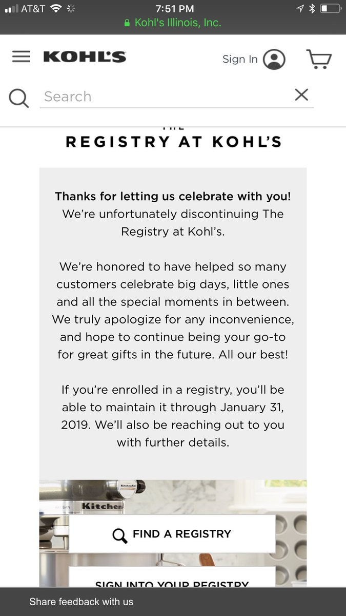 Kohls Wedding Registry.Kohl S On Twitter Unfortunately Since We Will Be Discontinuing
