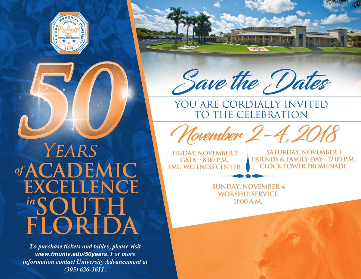 Florida memorial university official flmemorialuniv twitter south florida on november 2 at a gala in the wellness center tickets are 150 and tables are 1200 find out more at httpfmuniv50years publicscrutiny Gallery