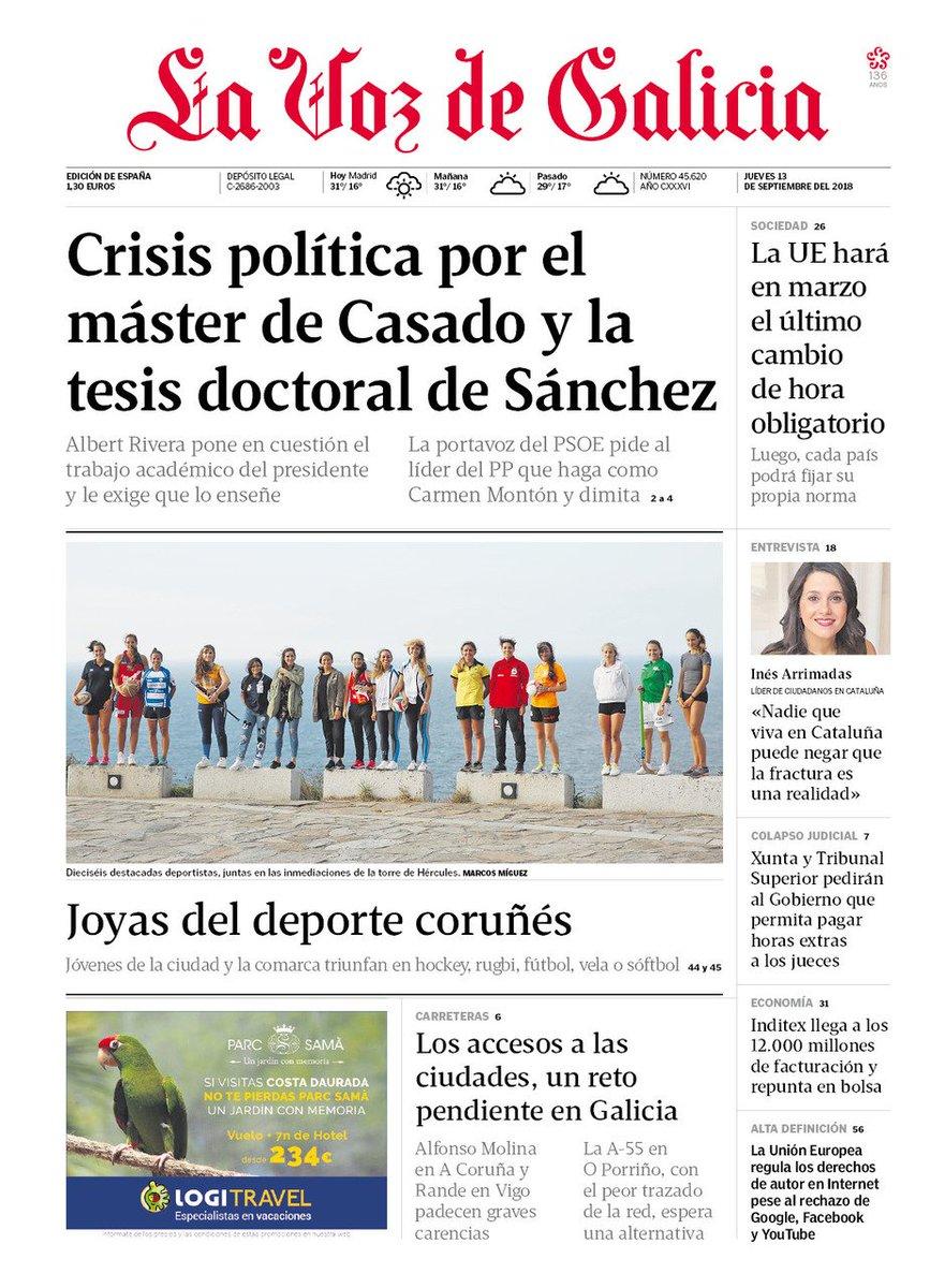 Twitter पर La Voz De Galicia La Portada De La Voz De Galicia Para Este Jueves 13 De Septiembre
