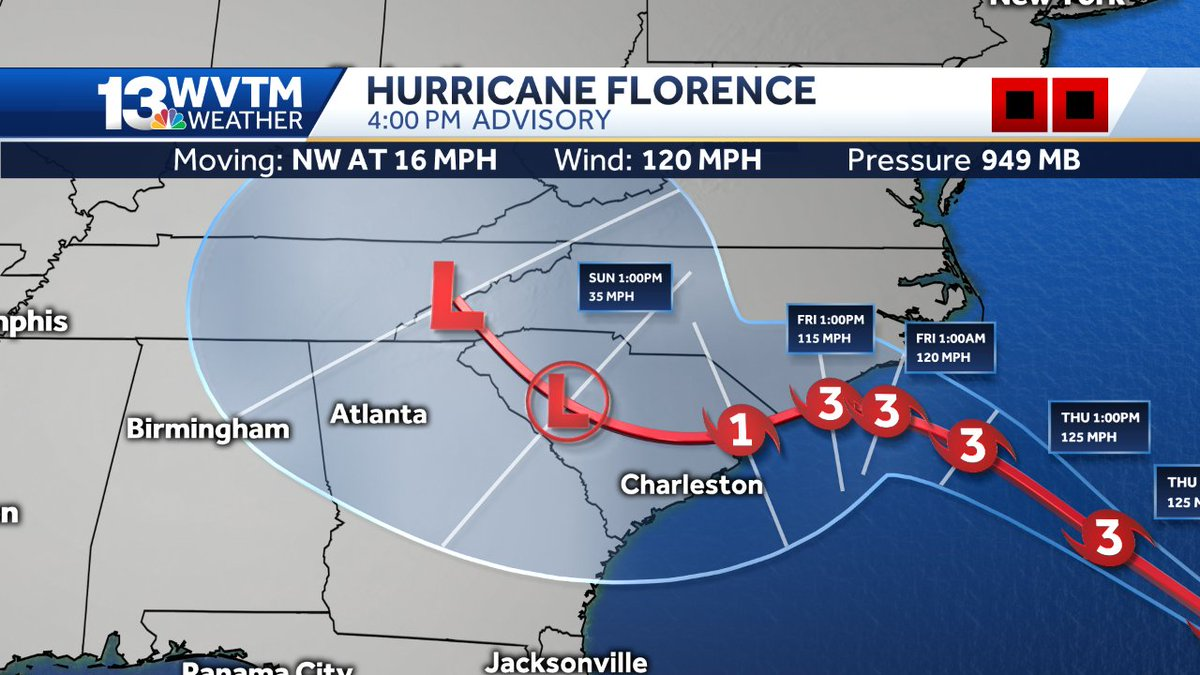 Adrian Castellano On Twitter Here Is The Latest Track Forecast For Hurricane Florence A New NHC Will Be Released Around 10pm CT